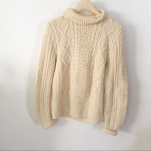 VINTAGE   Cable Knitted Oversize Cowl Neck Sweater